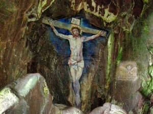 A photo of he actual painting of the Crucifixion by Archibald MacKinnon and maintained by generations of local artists since.