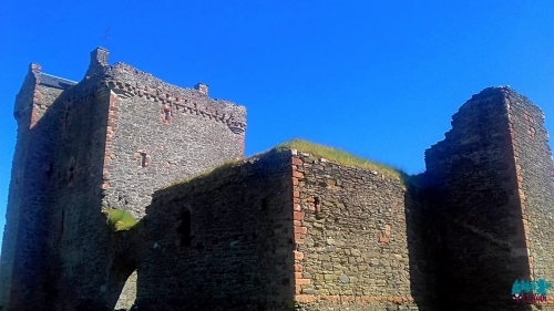 A photo of Skipness Castle from the ground looking upwards.