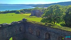 A photo from Skipness Castle roof looking south towards the Seafood Cabin