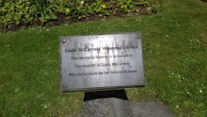 The dedication plaque of Linda McCartney memorial - Campbeltown Museum