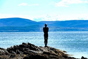 "Antony Gormley's ""Grip"" with the Isle of Arran backdrop"