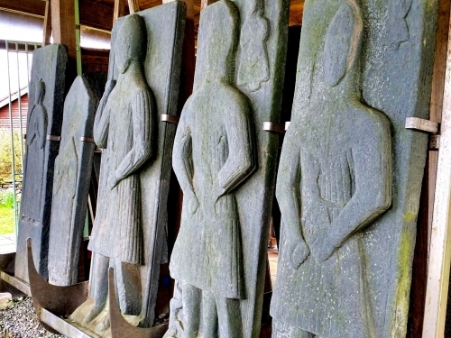 Ruins of Saddell Abbey - The Effigies, tallest 3rd from left